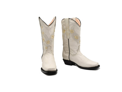 Veretta Womens Leather Western Boot Rustic White