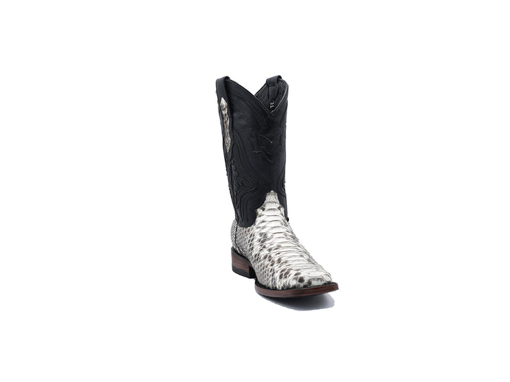 Texas Country Python Western Boot, Rodeo Toe Natural