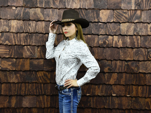 Rodeo Carte White Womens Long Sleeve Western Shirt 201