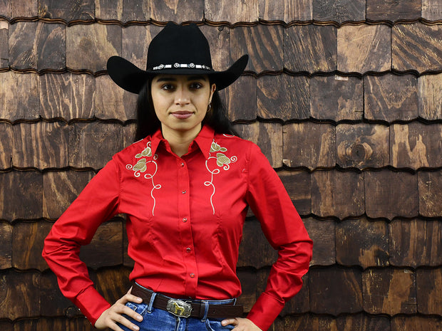 Rodeo Carte Red Womens Long Sleeve Western Shirt