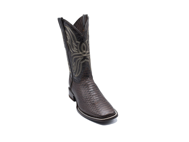 Veretta Leather Western Boot Python Print