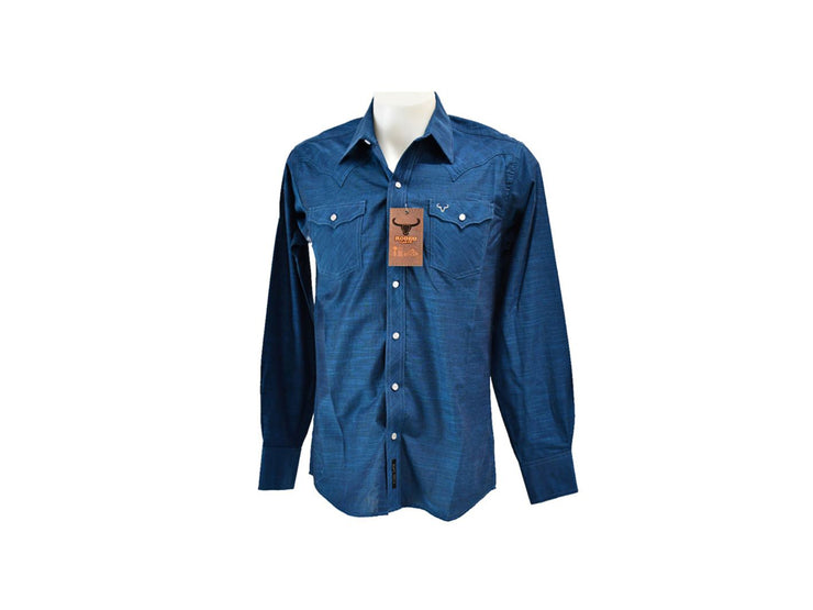 Rodeo Carte Blue Mens Long Sleeve Western Shirt