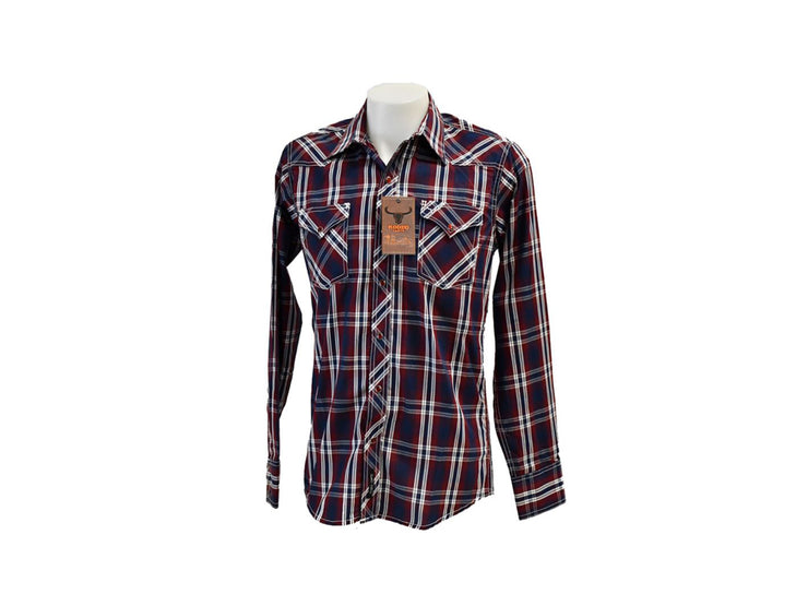 Rodeo Carte Blue & Red Plaid Mens Long Sleeve Western Shirt
