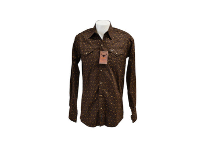 Rodeo Carte Chocolate Mens Long Sleeve Western Shirt