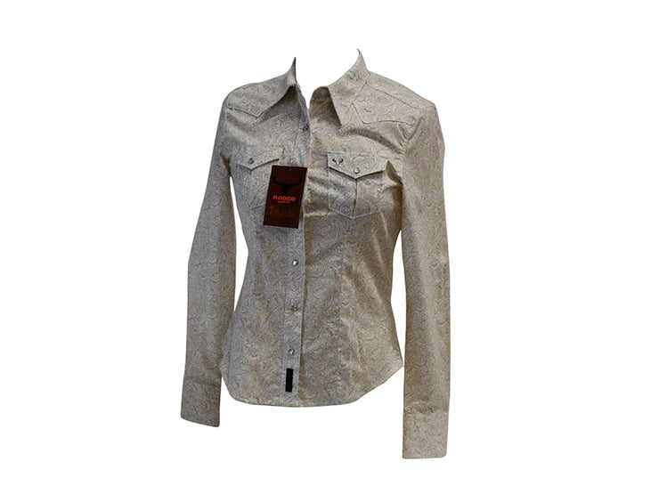 Rodeo Carte White Womens Long Sleeve Western Shirt 501