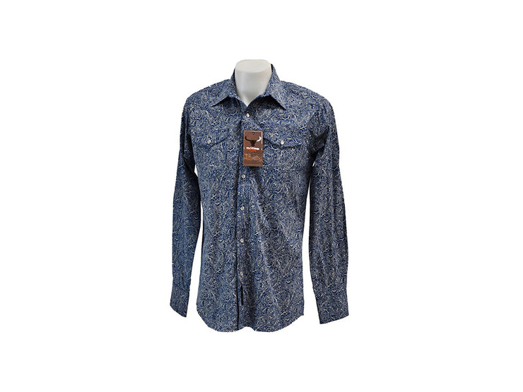 Rodeo Carte White & Blue Mens Long Sleeve Western Shirt