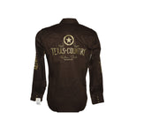 Rodeo Carte Brown Mens Long Sleeve Western Shirt
