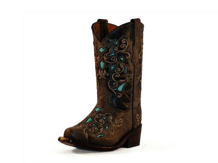 Texas Country Kids Western Girls Boots Crazy Chocolate 345
