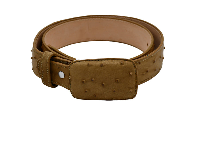 Texas Country Western Leather Belt Ostrich Print