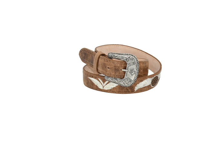 Womens Texas Country Brown Leather Belt Feather