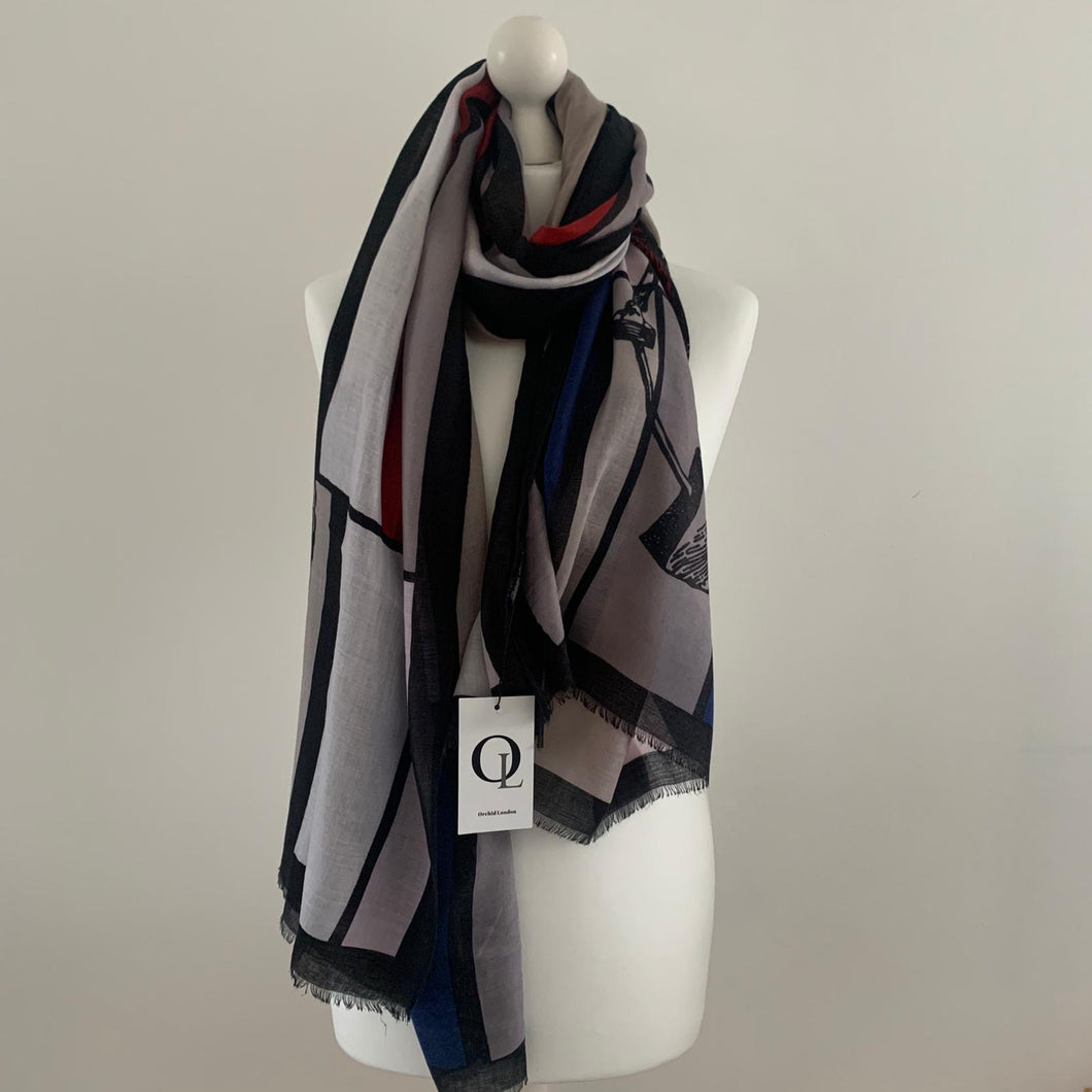 Royal blue-red-grey horse print scarf