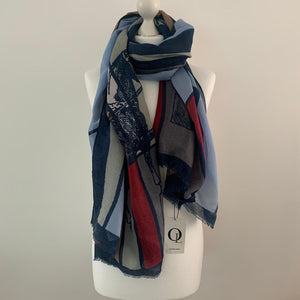 Blue-brown-red horse print scarf