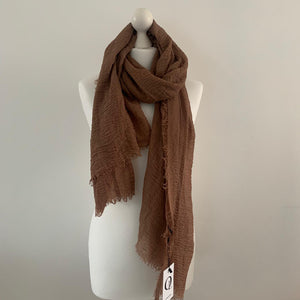 Light Brown Crinkle Scarf