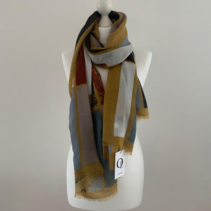 Multi-colored horse print scarf