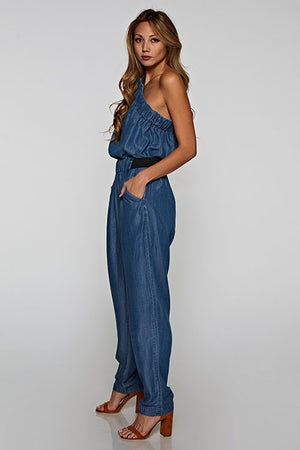 Denim One Shoulder Jumpsuit - Hippie Vibe Tribe