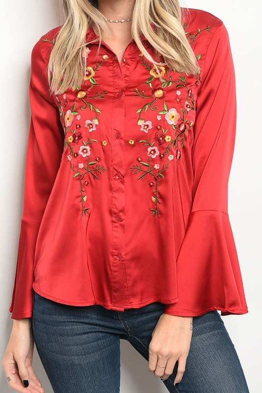 Bell Sleeve Satin Blouse - Hippie Vibe Tribe