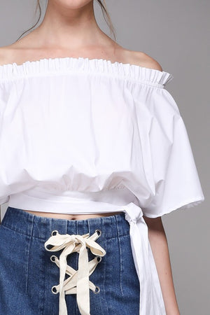 Sexy White Off Shoulder Crop Top with Side Ties - Hippie Vibe Tribe