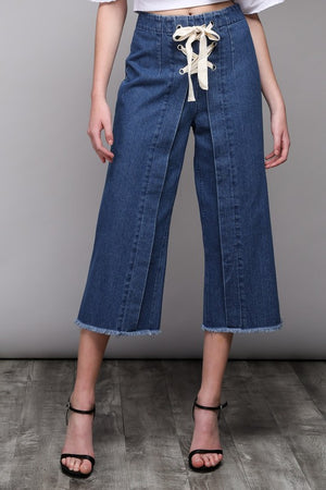 Front Lace-Up Denim Pants - Hippie Vibe Tribe