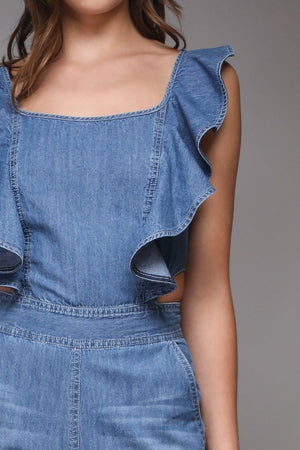 Ruffled Denim Tie Back Jumpsuit - Hippie Vibe Tribe