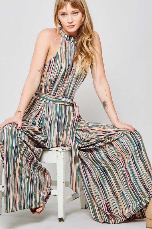 Multi-Stripped Jumpsuit - Hippie Vibe Tribe