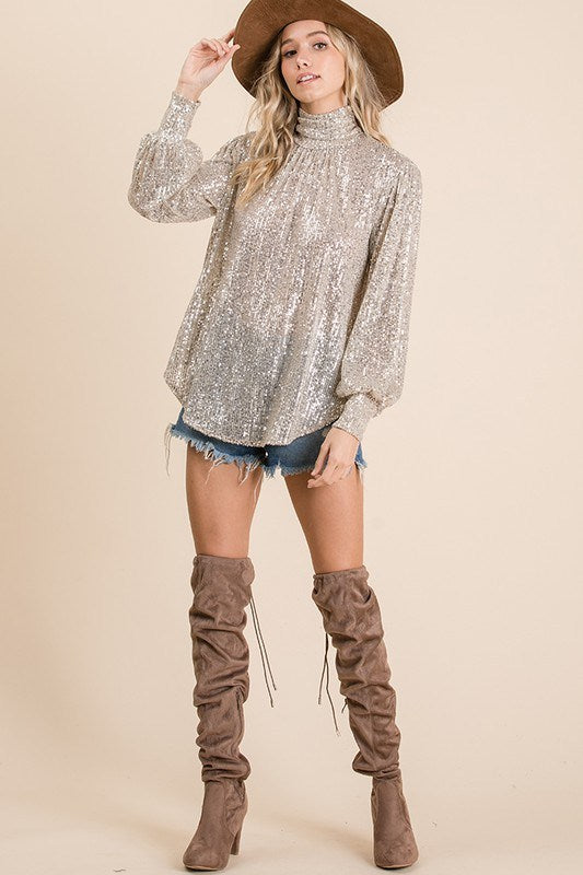 Sequin Turtle Neck - Hippie Vibe Tribe