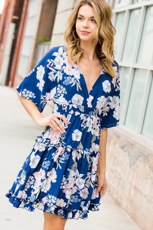 Blue Floral Ruffled Dress - Hippie Vibe Tribe