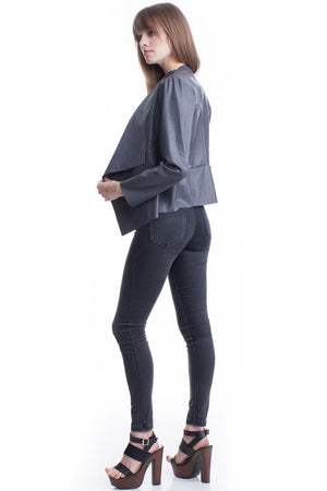 Pleather Long Sleeve Fold Over Black Jacket - Hippie Vibe Tribe