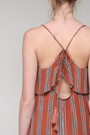 Stripped Maxi Dress in Terra Cotta - Hippie Vibe Tribe