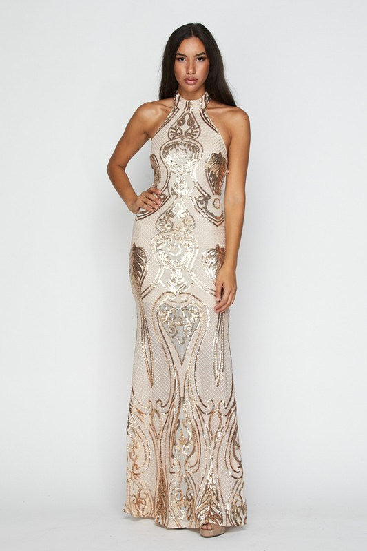 Gold Halter Sequin Maxi Dress - Hippie Vibe Tribe