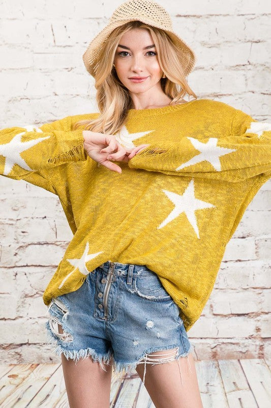 Star Print Boyfriend Sweater - Hippie Vibe Tribe
