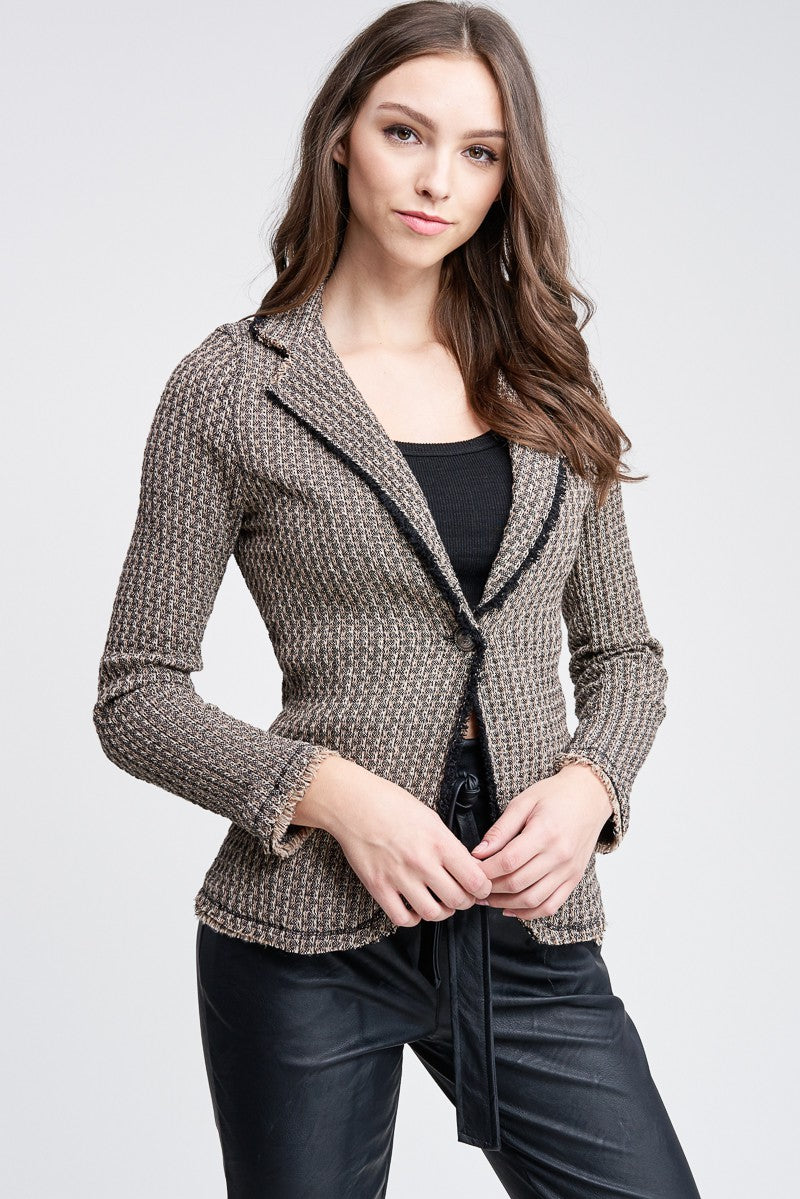 Tweed Fringe Blazer - Hippie Vibe Tribe