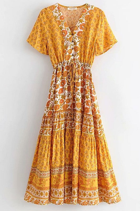 Bohemian Romantic Floral Dress - Hippie Vibe Tribe