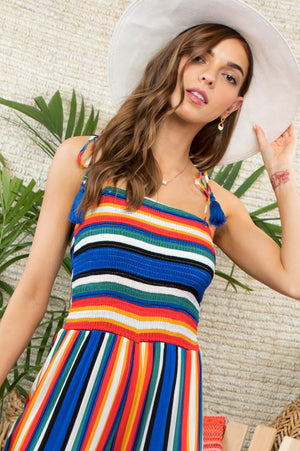 Striped Sleeveless Jumpsuit - Hippie Vibe Tribe