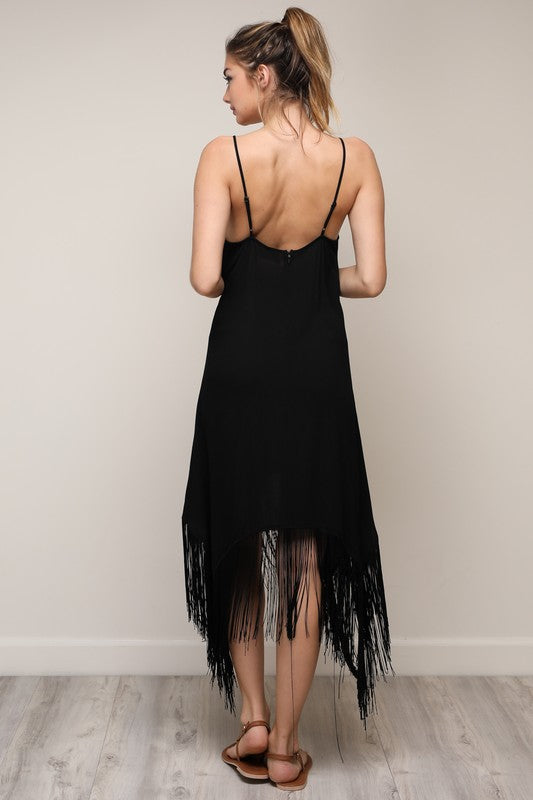 Black Fringe & Embroidered Dress - Hippie Vibe Tribe