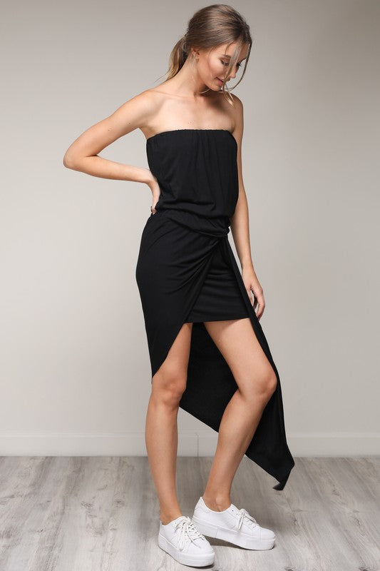 Black Off Shoulder High-Low Maxi Dress - Hippie Vibe Tribe