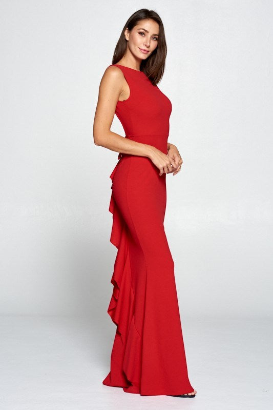 Red Bow Ruffle Dress - Hippie Vibe Tribe