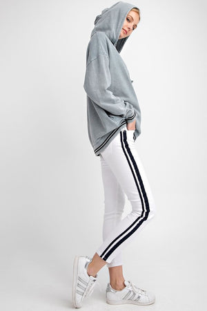 Skinny Jeans White with Black Stripe - Hippie Vibe Tribe