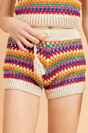 Striped Crochet Shorts Set - Hippie Vibe Tribe