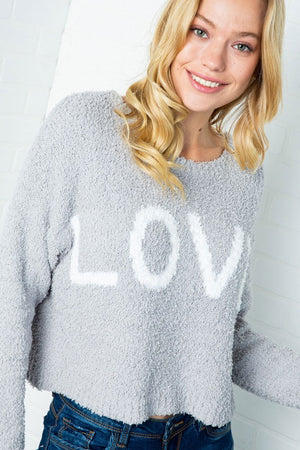 "Furry Knit ""Love"" Pullover Sweater - Hippie Vibe Tribe"