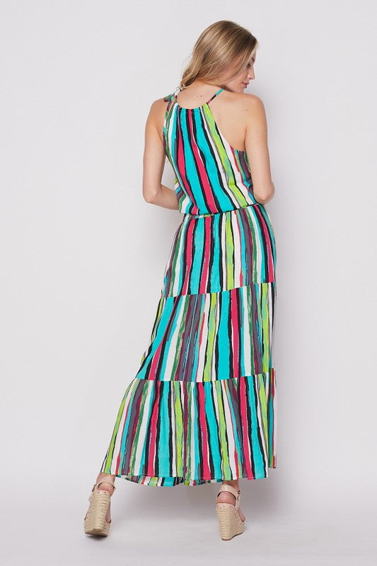 Turquoise Multi-Colored Halter Maxi Dress - Hippie Vibe Tribe
