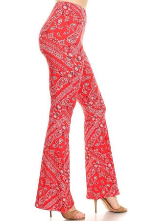Bandanna Printed Flared Pants - Hippie Vibe Tribe