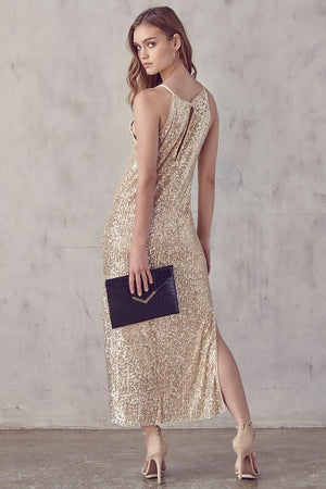Gold Sequin Halter Maxi Dress - Hippie Vibe Tribe