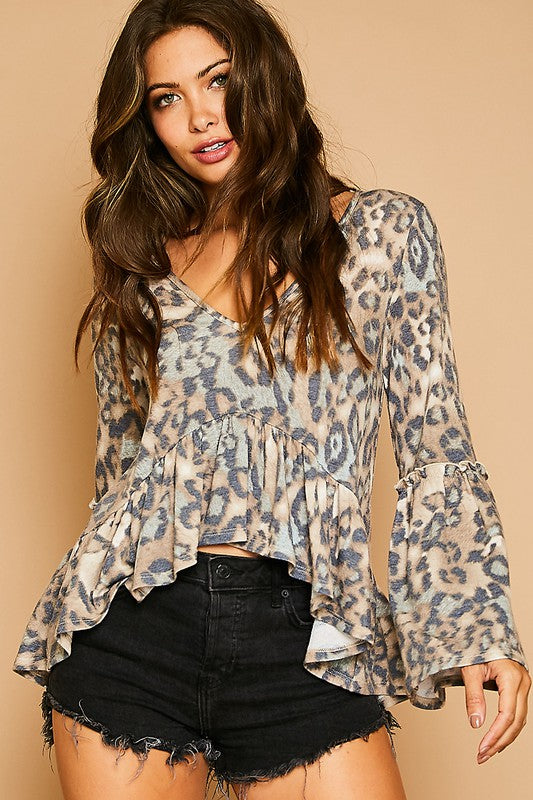 Leopard Frill Knit Top - Hippie Vibe Tribe