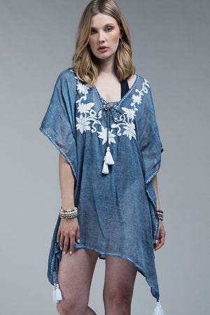 Flower Embroidered Cover-Up - Hippie Vibe Tribe