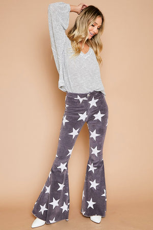 Star Printed Flare Pants - Hippie Vibe Tribe