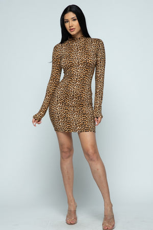 Long Sleeve Mini Leopard Dress