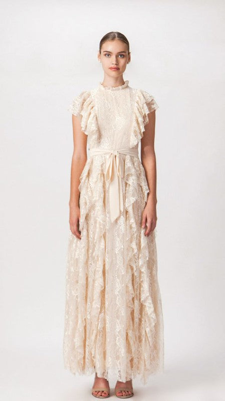 Vintage Ruffle Ivory Maxi Dress - Hippie Vibe Tribe
