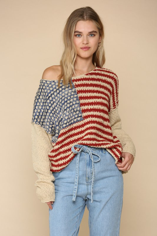 American Flag Knitted Pullover - Hippie Vibe Tribe