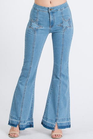 STAR Cut Out Flared Jeans