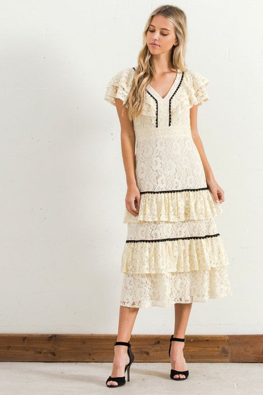 Vintage Lace & Ruffles Dress - Hippie Vibe Tribe